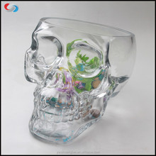 Handmade Crystal Carved Skull Heads Shape Glass Fish Tank Clear Skull Shaped Glass Vase Fish Tank For Decoration