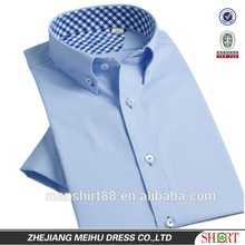 100% organic cotton button up collar contrast color collar wrinkle free fashion casual half sleeve men shirt