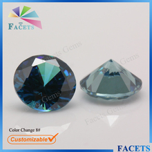 Semi Precious Stone Beads Synthetic Color Change 8# Round Brilliant Cut Alexandrite Rough for Sale