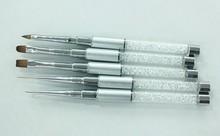 New Brushes! 5pcs Nail Art Brush Set,Brushes with jewel inside the handle,Whole Set in PVC tube