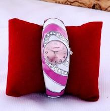 Women Luxury Brand Watch Pink Diamond Strip Dress Watches Stainless Steel Feme Wristwatch