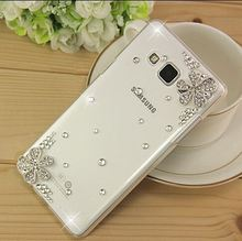 New 3D Flower bling Crystal diamond Transparent Cell Phone Shell back cover hard case For Samsung Galaxy A3 Case A3000