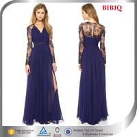 Ruffles Long Sleeves Ladies Dresses , Elegant Ruffles Evening Gown