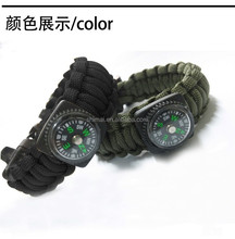 2015 new style 550 paracord survival bracelet with bottle opener and compass drinking camping hiking
