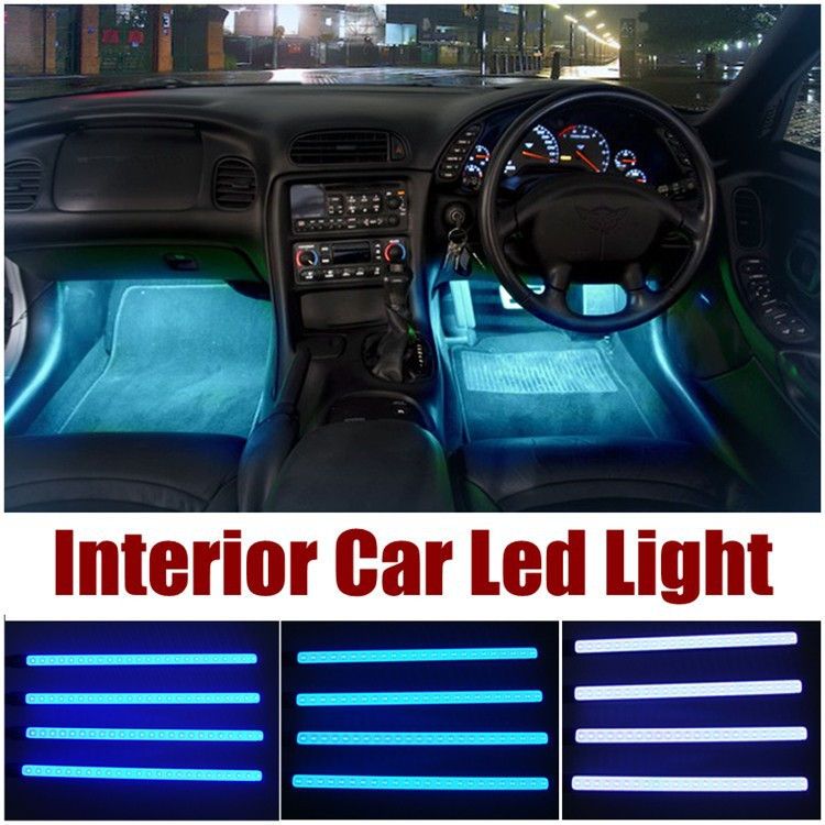 High Quality 4 Pcs Car Interior Light Accessories Decorative Led Car Light Led Strobe Lights