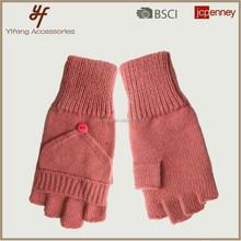 lady glove/knit glove/acrylic glove , SOFT acrylic glove half fingers with poptop