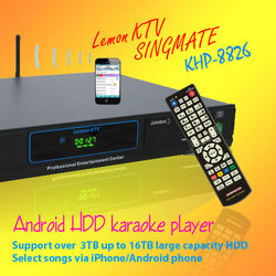 Android Lemon KTV product with HDMI 1080P ,Support MKV/VOB/DAT/AVI/MPG songs ,Over 3TB up to 16TB HDD ,Multilingual MENU