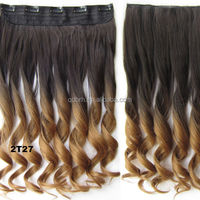 Hot Sale Ombre Clips-in High Temperature Synthetic Hair Extensions