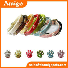 New products on china market innovative luxury pet products paw print hareware decoration dog collar leash