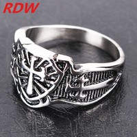 Promotional Sliver Color Biker Style Cross Rings And Party Wear For Boys