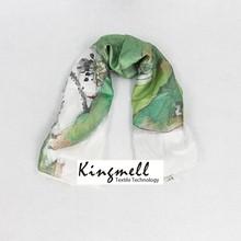 2015 Women Popular Style Digital Printed Fashion Silk Scarf Packaging