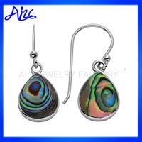 fashion drop design silver huggie abalone shell earring