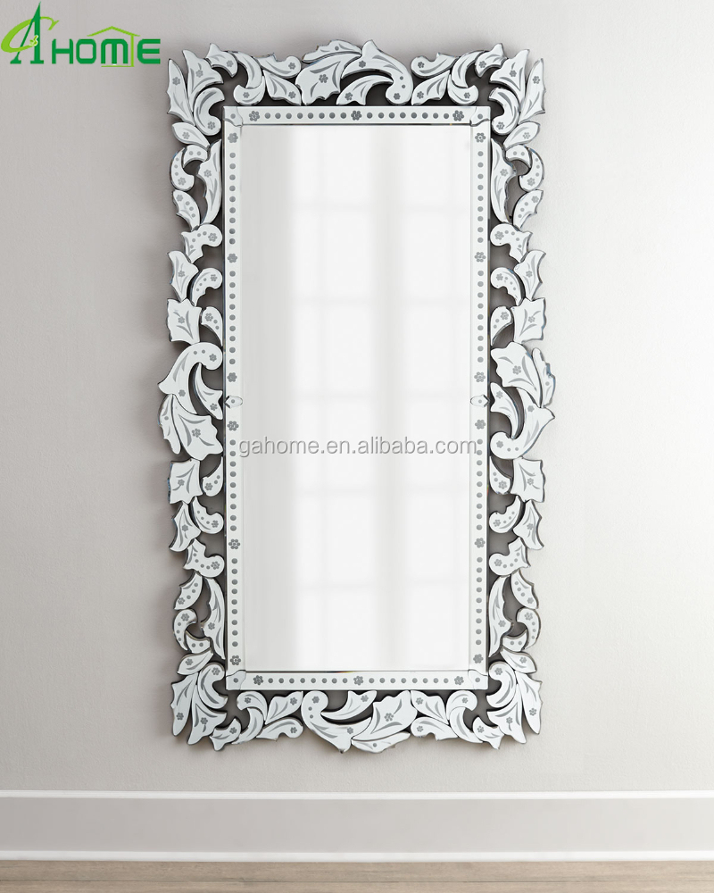 Fancy full length long decorative venetian wall mirror for Decorative full length wall mirrors