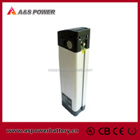rechargeable silver fish type 36V 10Ah LiFePo4 battery pack for e bike with Alu case and charger
