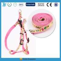 pink nylon dog leash and harness with diamond