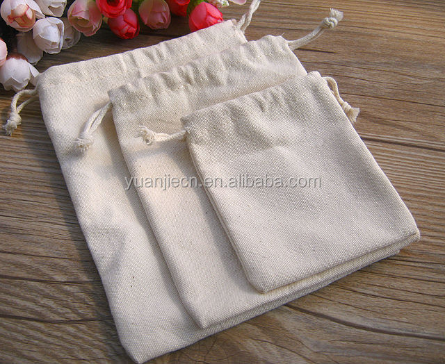 Yuanjie wholesale stylish small plain white cotton pouchs bag plain drawstring shoe bags wholesale