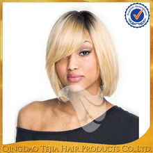 Hot sale bob style straight human hair brazilian top quality with baby hair 8-12inch short lace front wigs