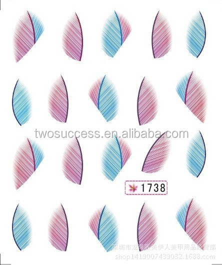 Water-transfer Printing Nail Stickers Classic Feather Design Nail Art Decorative Stickers