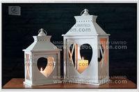 2015 White Home decorative Heart Wood Lantern Set, Wood Hurricane Candle Lantern for Wedding Decoration