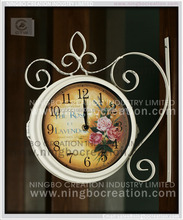 Double sided antique outdoor decorative wall clock