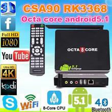 android 5.1 tv box csa90 RK3368 mini pc Octa Core 16GB bt WiFi Smart TV Box CSA90 android 4.4 dongle 16gb