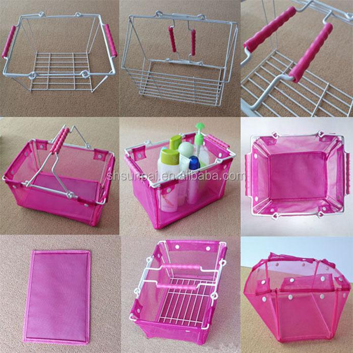 미니 와이어 colth, 분홍색 컬러 쇼핑 바구니 슈퍼마켓