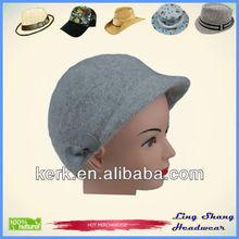 men's and women's hat in brick red cashmere wool with dark chestnut deerskin leather trim Women Hats Suppliers , LSA11