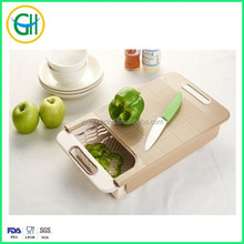 Hot sale over sink plastic cutting board cutting board with strainer