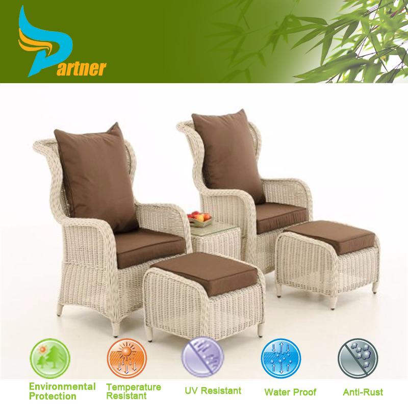 White Garden Rooms To Go Outdoor Furniture Rattan Balcony Sofa Set With Ottom