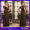 Vintage A-line Sexy V-neck Cap Sleeve Ruffle Flowing Chiffon Floor Length Brown Mother of the Bride Dresses