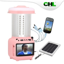 2015 new CHL solar multi-functional camping lantern with cell phone charger, TV, fm radio