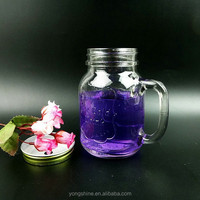500ml screw top lid engraving glass mason jar with handles