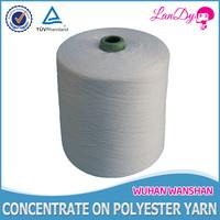 close virgin factory price 42/2 Raw white 100% spun polyester yarn in cone or hank yarn