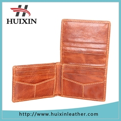 Leaflet fashion brown leather wallet / thin leaher wallet