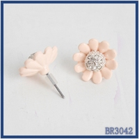 Top selling Fashion designs new model earrings resin stone flower alloy metal needle stud earring