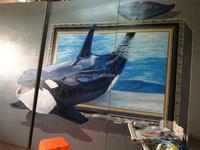 Hand-painted 3D magic oil painting sea animal