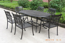 Cast Aluminum Garden Furniture 7PC Dining Oval Table&Arm Chairs Set