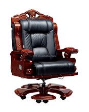 9085A-2 Boss Genuine Leather Wooden Base Executive Chair
