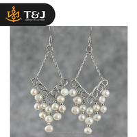 2015 fashionable freshwater pearl tassel earrings design drop earrings accessories for making earrings