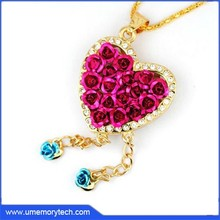 Heart shape with rose necklace memory stick pen drive cheap bulk usb flash disk