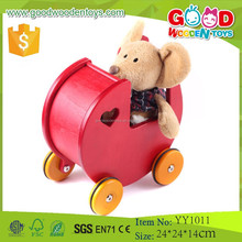 2015 Hot Sale Ride on Car Solid Wood Toy 4 Wheels Wooden Baby Walker Toys