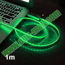1m Visible Flowing Current Charging Cable for iPhone 4 & 4S / 3GS / New iPad (iPad 3) / iPad 2(Green)