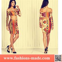 Women 2 Piece Off-shoulder General Printing Dress