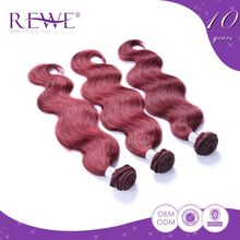 Low Cost Natural And Beautiful Human Burgundy Cheap Red Indian Remy Hair Weave