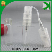 2ml glass spray bottle for cosmetic packaging with plastic sprayer
