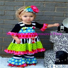 Top Selling Girls Fall Boutique Outfits Adorable Kids Cotton Ruffled Pants 3 Pieces Sets IM-CSL001