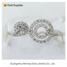 Trendy double circle new zirconia diamonds open rings price