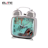 Made in china rectangle antique style metal quartz twin bell alarm clocks