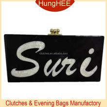 Customized acrylic box party bags black acrylic box clutch