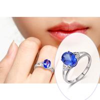 18K Solid White Gold Genuine Diamond & Natural AAA Tanzanite Wedding Ring